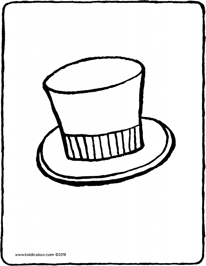 top hat colouring page drawing picture 01V