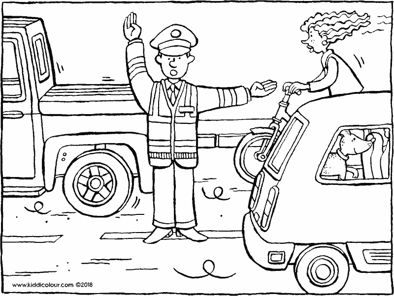 traffic officer directing the traffic colouring page drawing picture 01k
