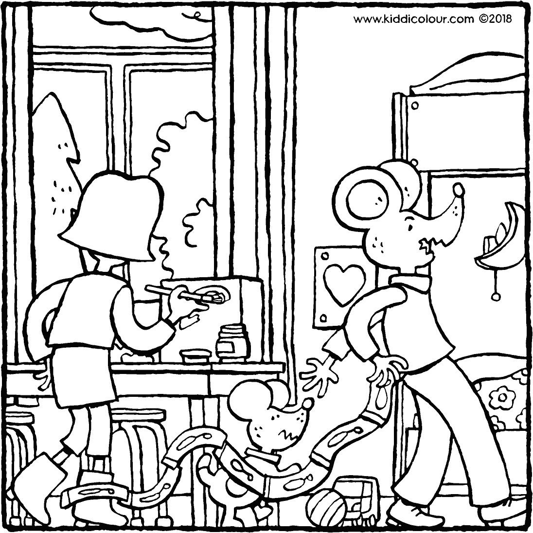 Emma and Thomas do crafts together colouring page drawing picture 01k