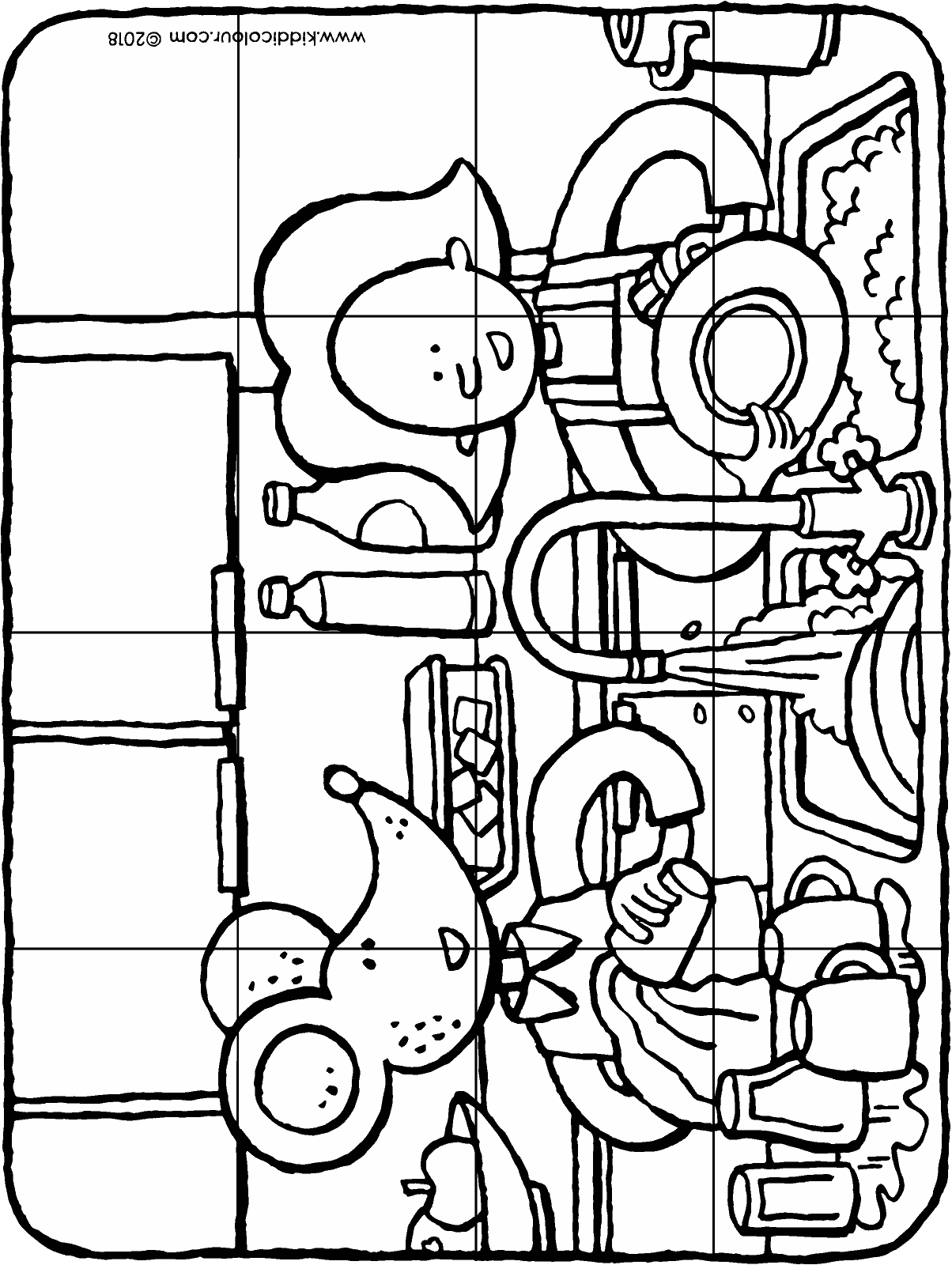 Emma and Thomas washing up puzzle 16 pieces colouring page drawing picture 01H