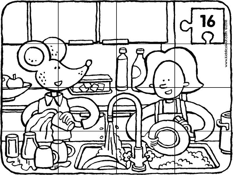 Emma and Thomas washing up puzzle 16 pieces colouring page drawing picture 01k
