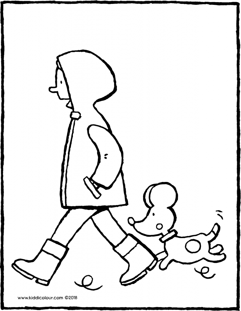 Emma walking the dog colouring page drawing picture 01V
