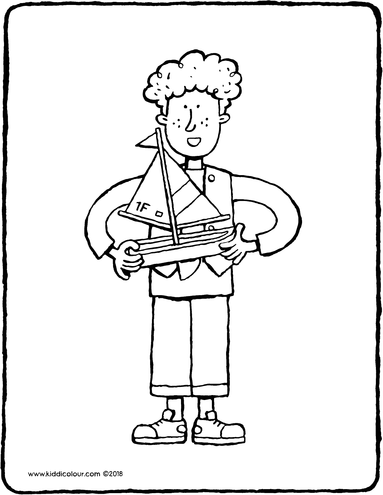 Luke and his boat colouring page drawing picture 01V