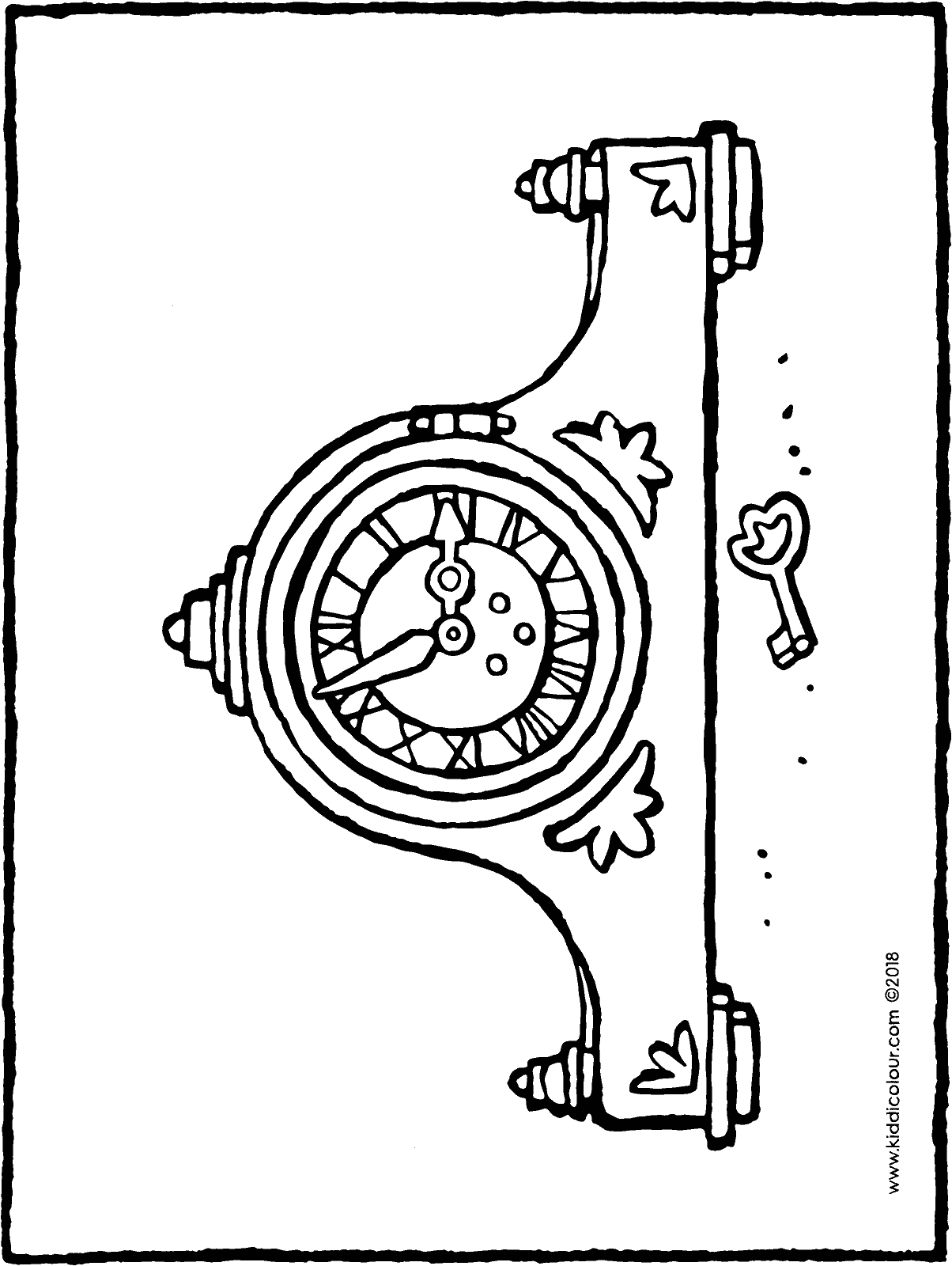 antique clock colouring page drawing picture 01H