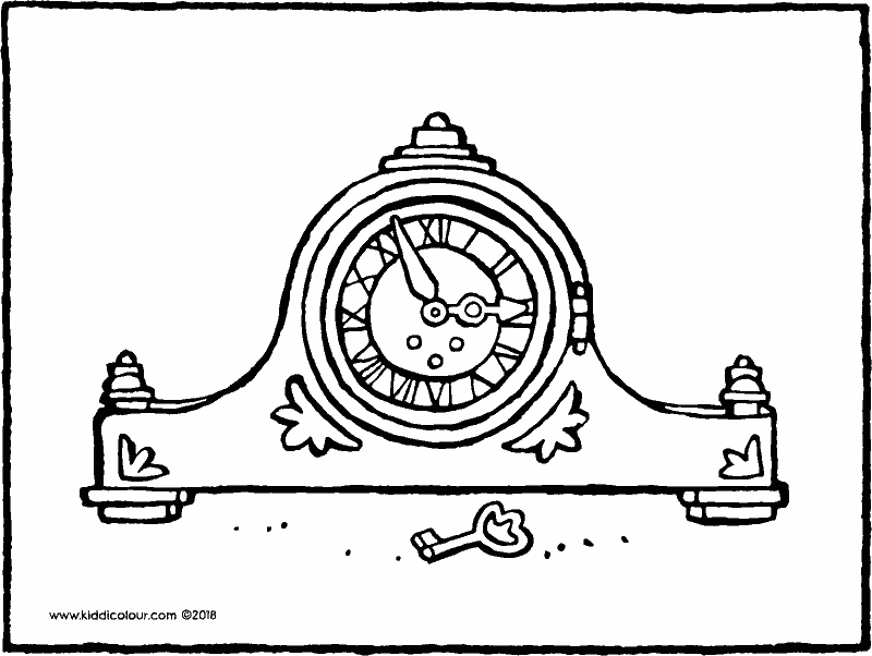 antique clock colouring page drawing picture 01k