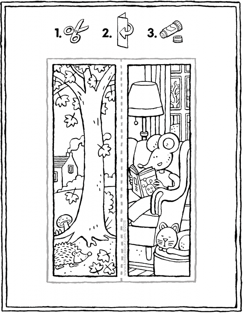 autumn bookmark colouring page drawing picture 01V