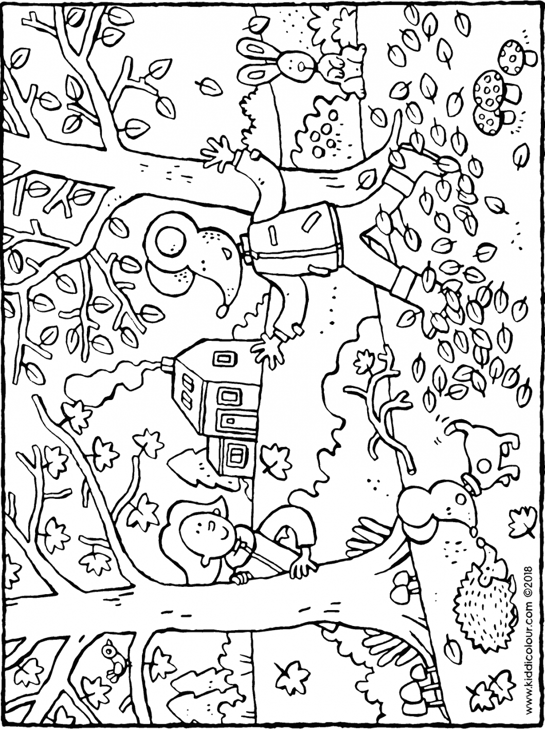 autumn with Emma and Thomas colouring page drawing picture 01H