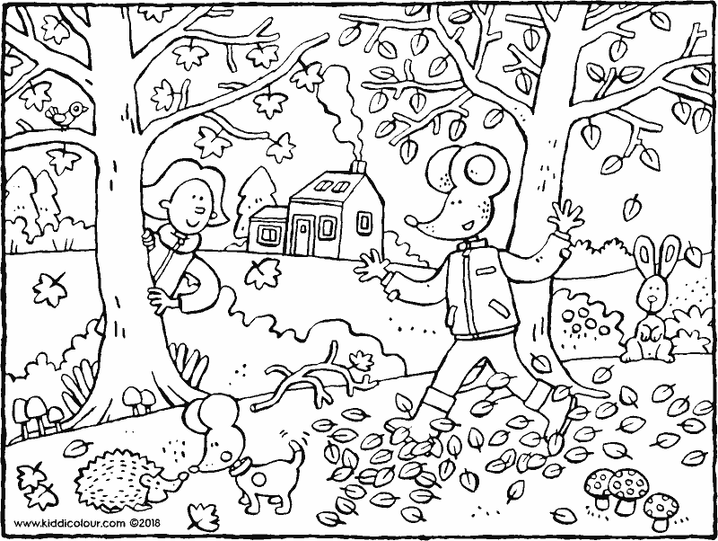 autumn with Emma and Thomas colouring page drawing picture 01k