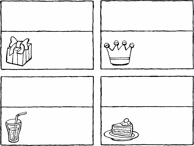 birthday place cards colouring page drawing picture 01k