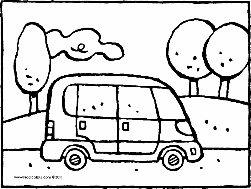 car in landscape colouring page drawing picture 01k