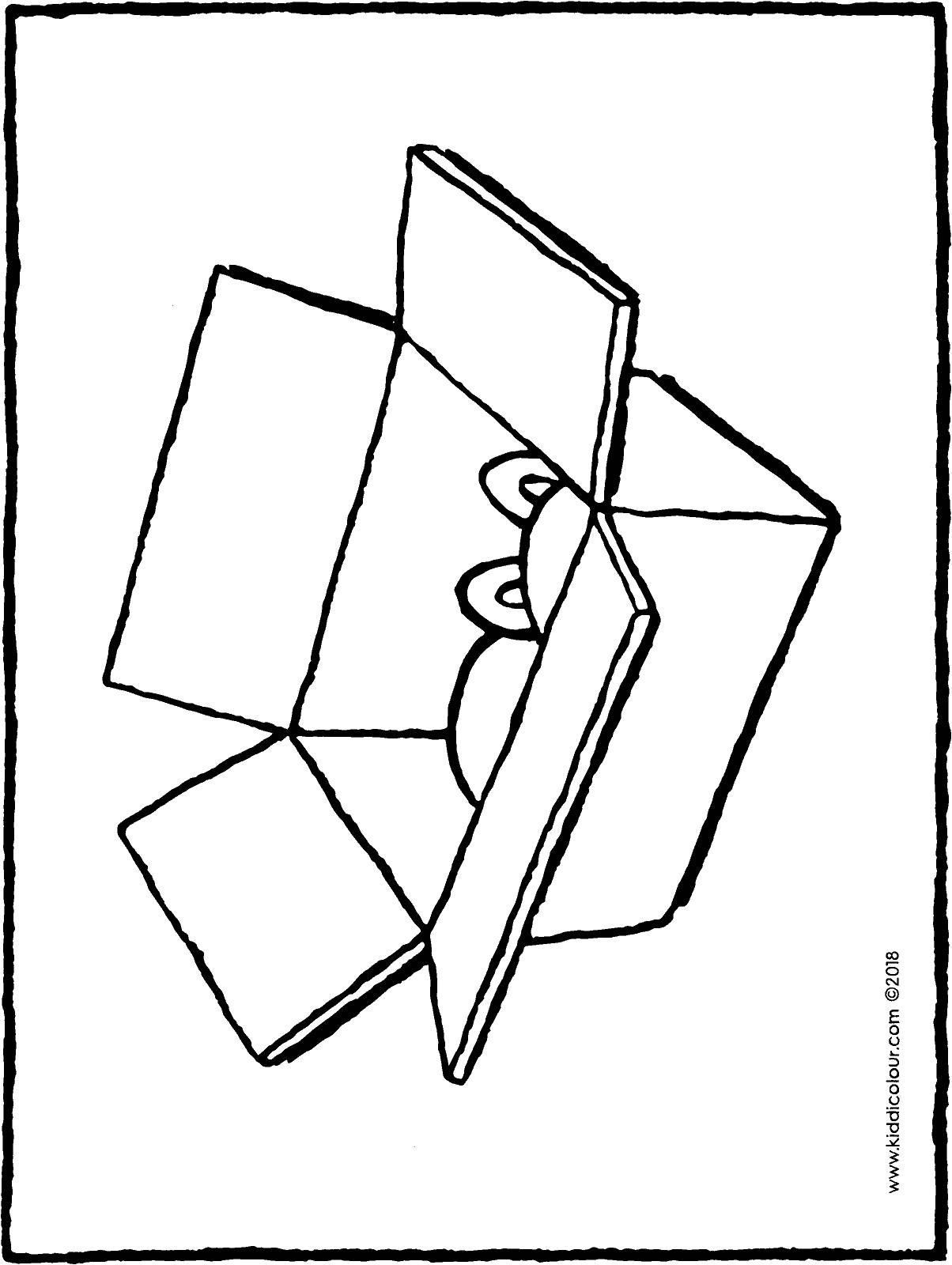 cardboard box colouring page drawing picture 01H