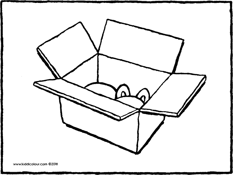 cardboard box colouring page drawing picture 01K