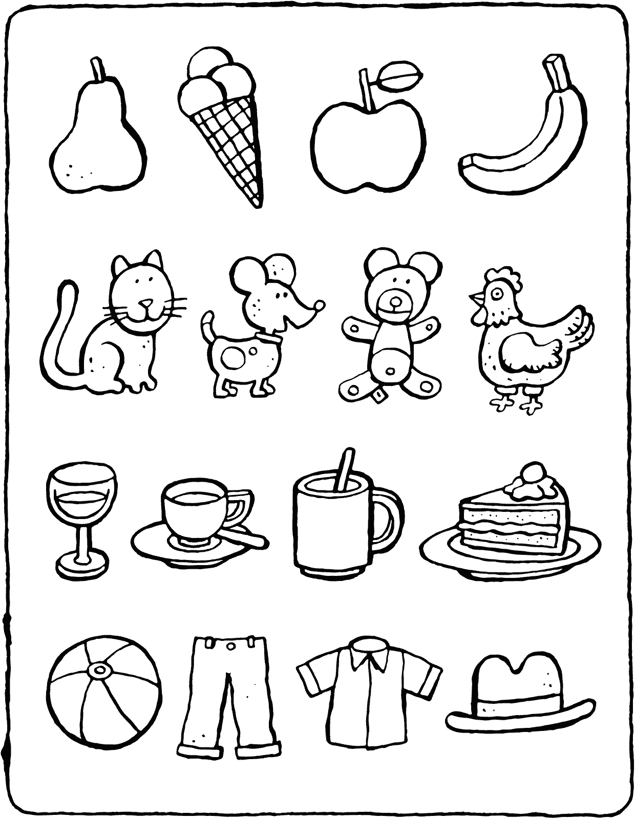 colour in the odd one out colouring page drawing picture 01V