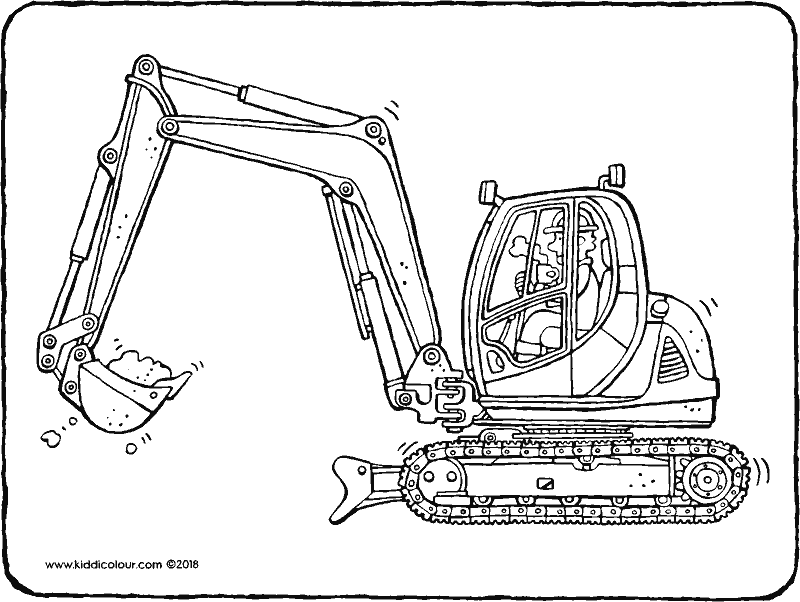 digger colouring page drawing picture 01k