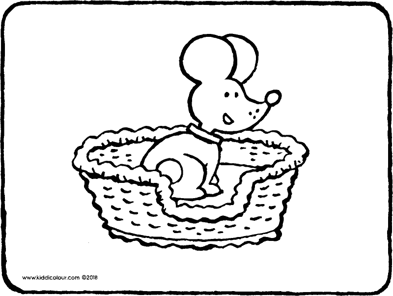 dog basket colouring page drawing picture 01k