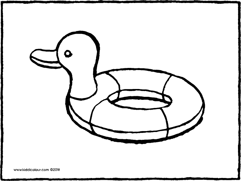 duck rubber ring colouring page drawing picture 01k