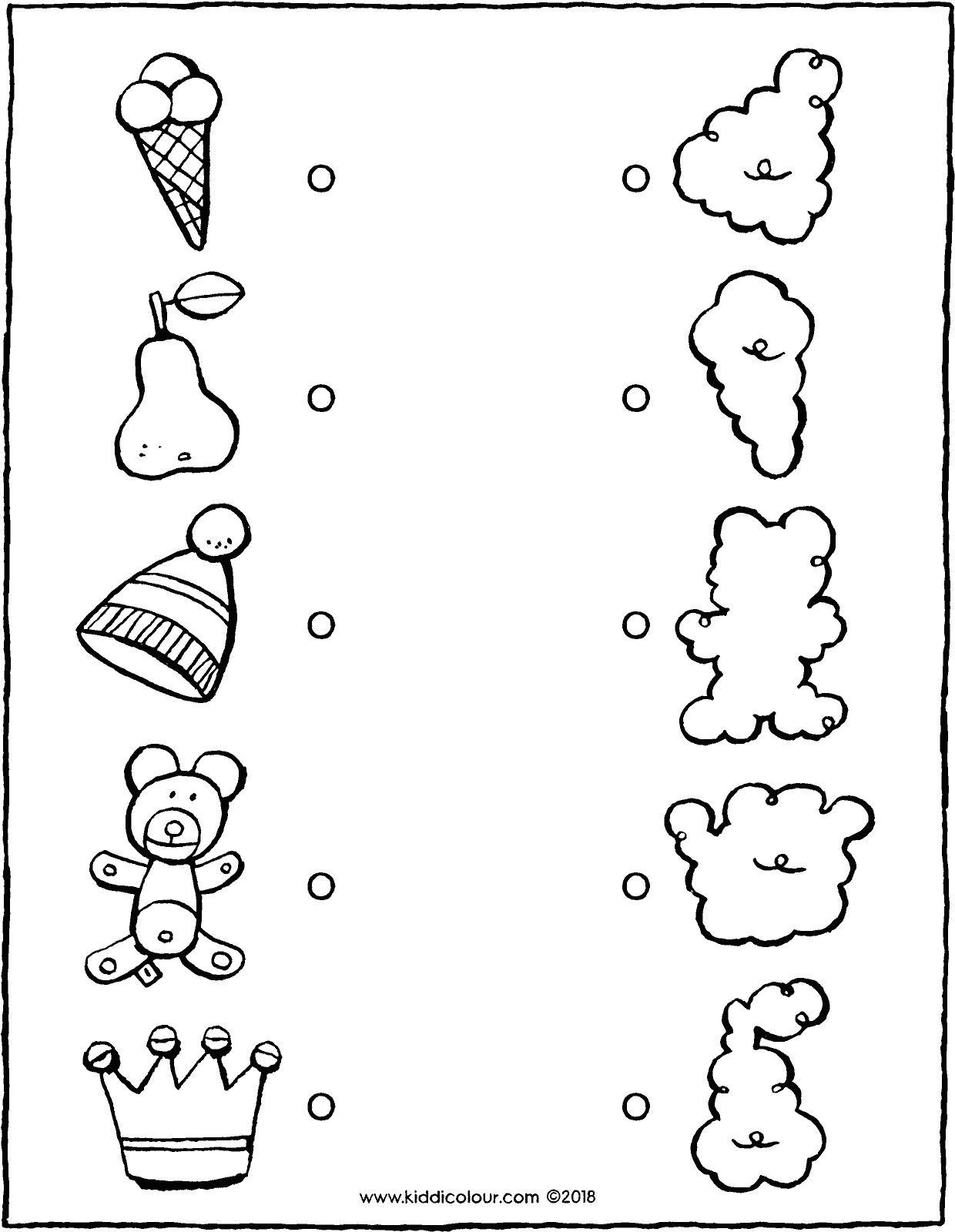 join the objects to the correct clouds colouring page drawing picture 01V