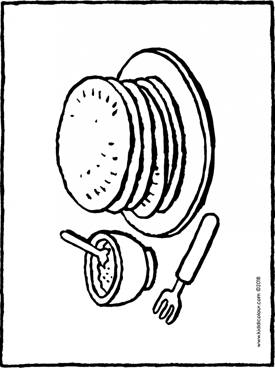 plate with pancakes and a pot of sugar colouring page drawing picture 01H