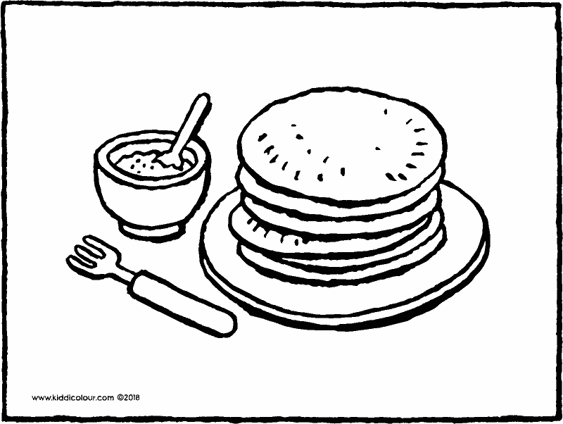 plate with pancakes and a pot of sugar colouring page drawing picture 01k