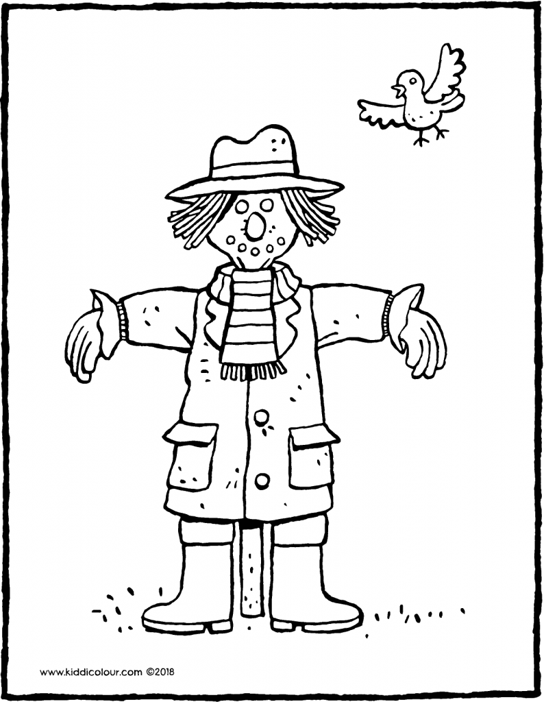 scarecrow colouring page drawing picture 01V