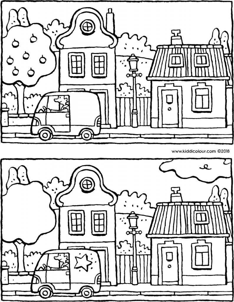 spot the 5 differences in this street colouring page drawing picture 01V