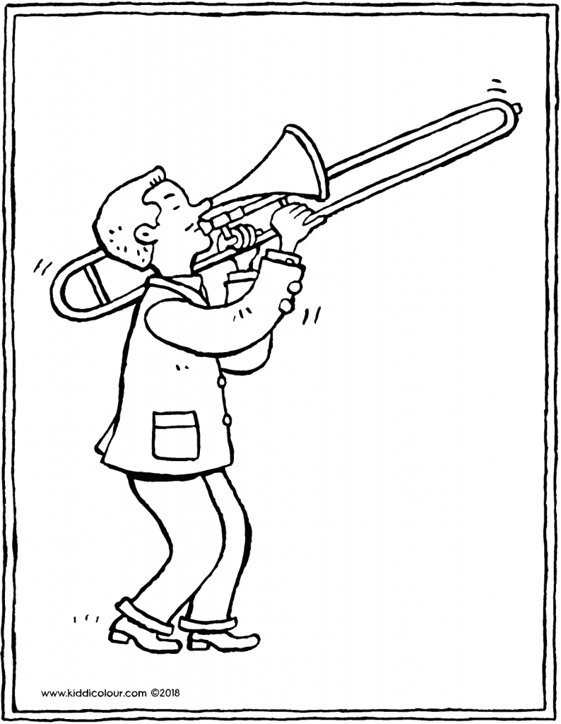 trombone player colouring page drawing picture 01V