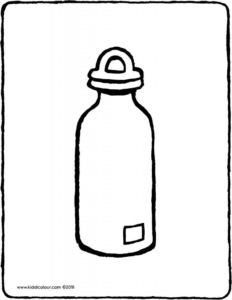water bottle colouring page drawing picture 01V