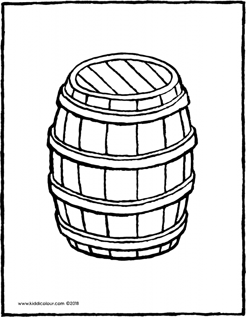 wooden barrel colouring page drawing picture 01V