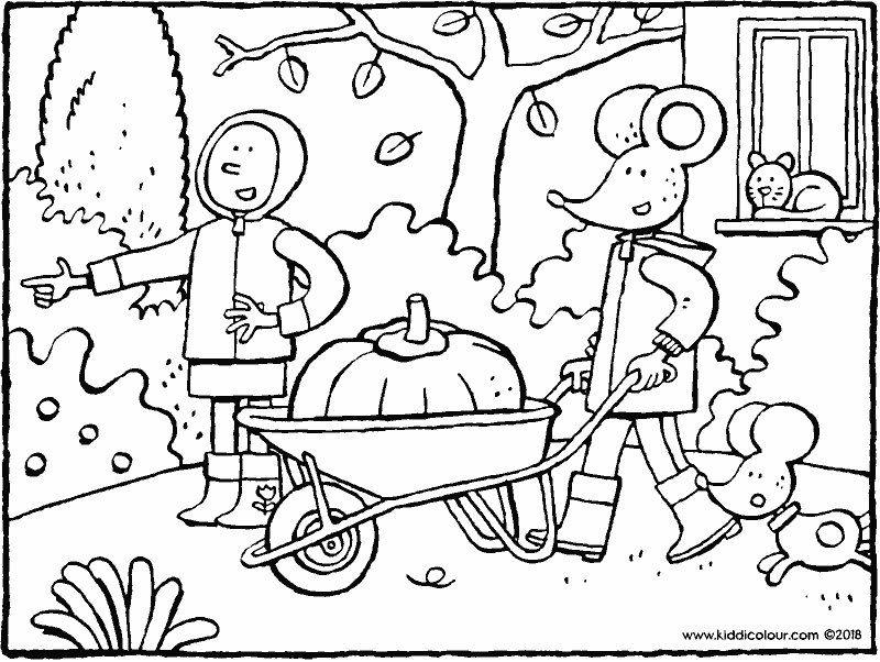 Emma and Thomas and a big pumpkin colouring page drawing picture 01k
