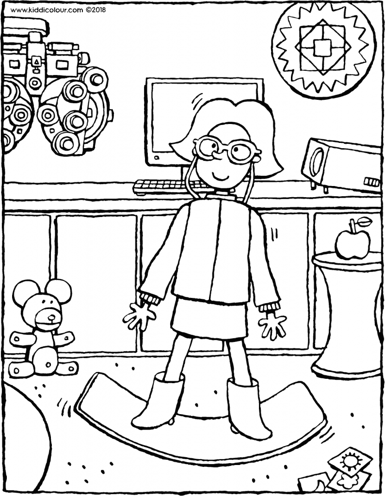 Emma at the optometrist colouring page drawing picture 01V