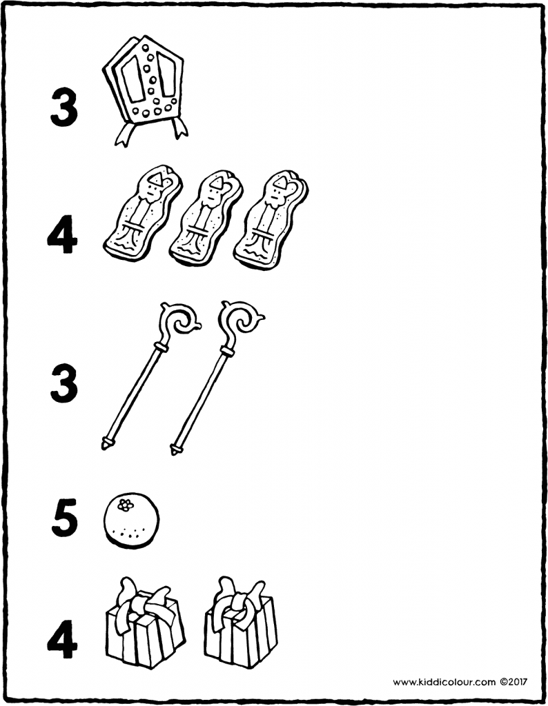draw the correct number of items colouring page drawing picture 01V