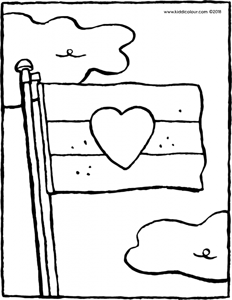 flag on a flagpole colouring page drawing picture 01V