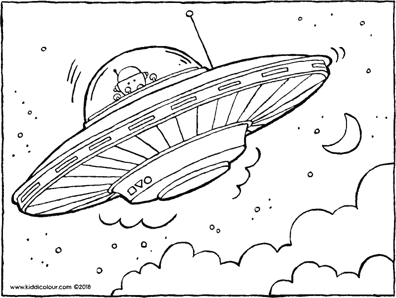 flying saucer colouring page drawing picture 01k
