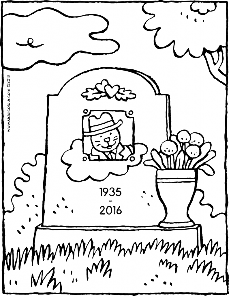 gravestone colouring page drawing picture 01V