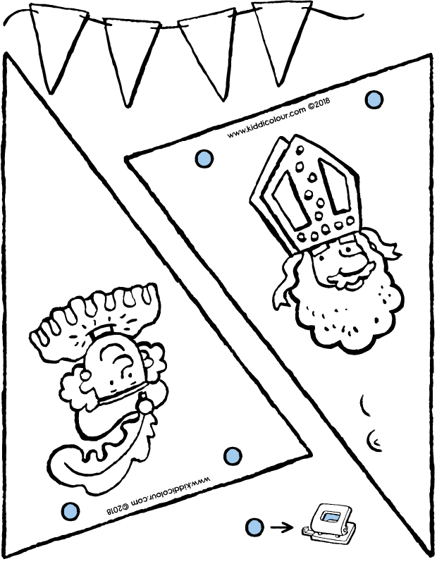 make bunting for Saint Nicholas colouring page drawing picture 01k