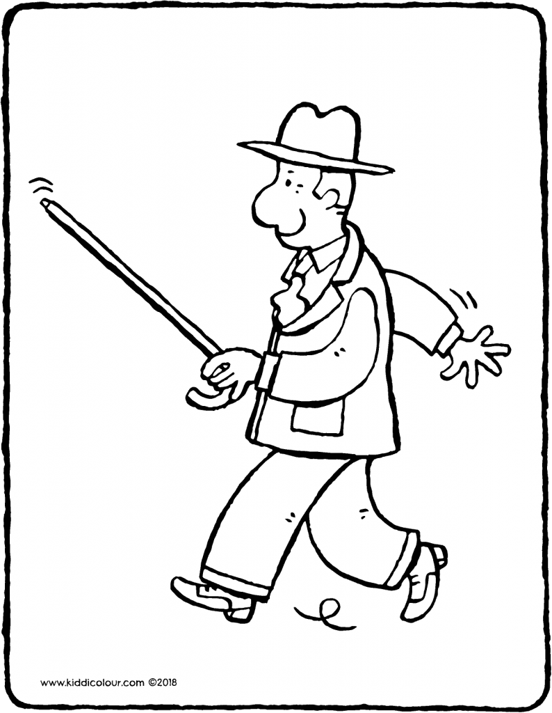 old man with walking stick colouring page drawing picture 01V
