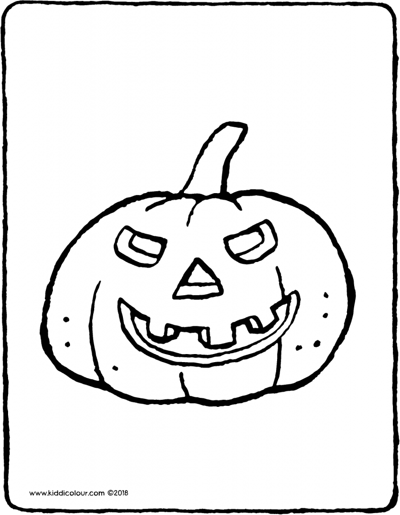 pumpkin for Halloween colouring page drawing picture 01V