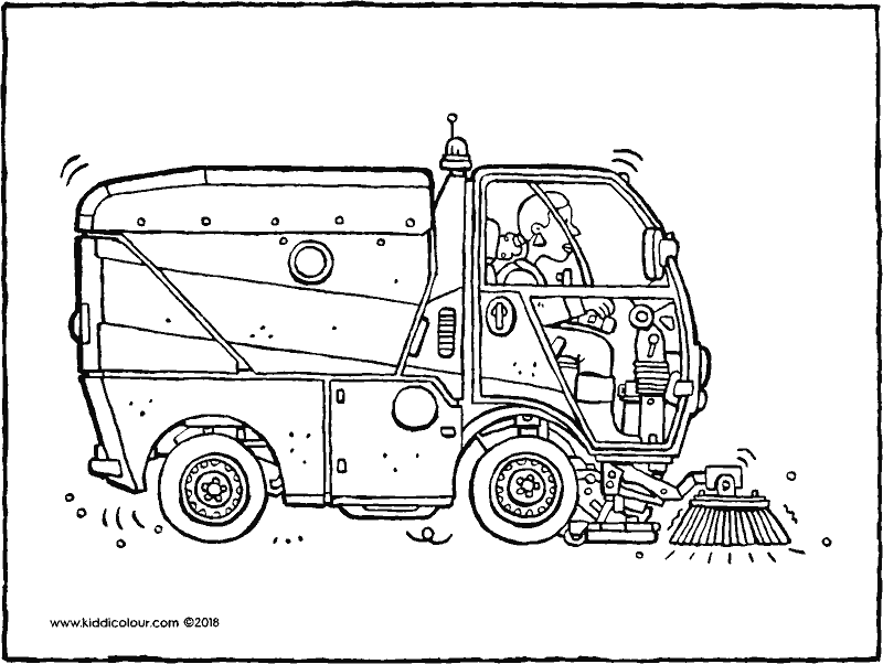 road sweeper colouring page drawing picture 01k