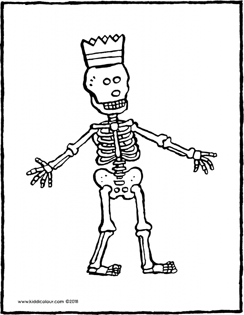 skeleton colouring page drawing picture 01V