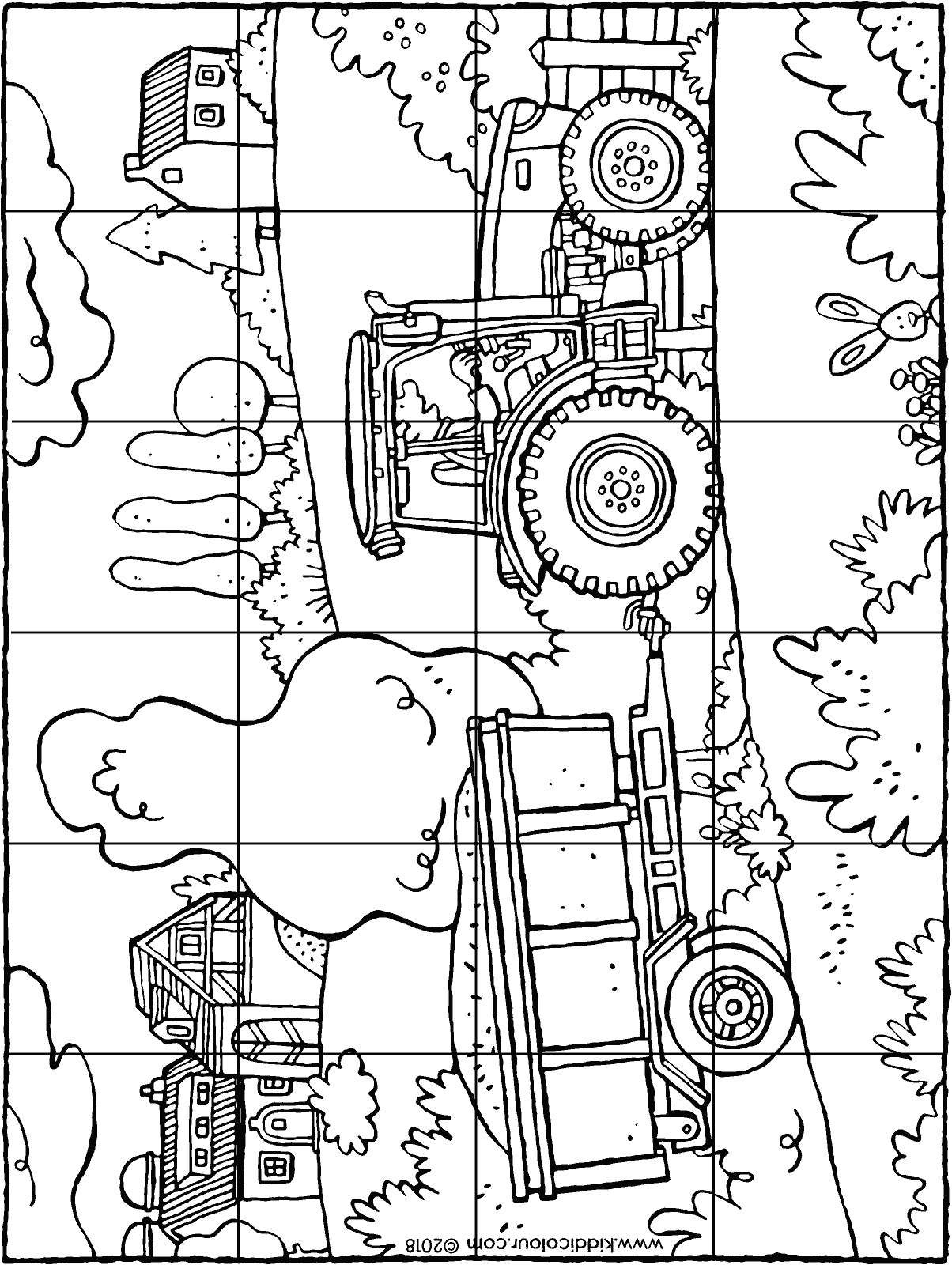 tractor and trailer puzzle colouring page drawing picture 01H