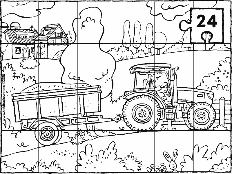 tractor and trailer puzzle colouring page drawing picture 01k