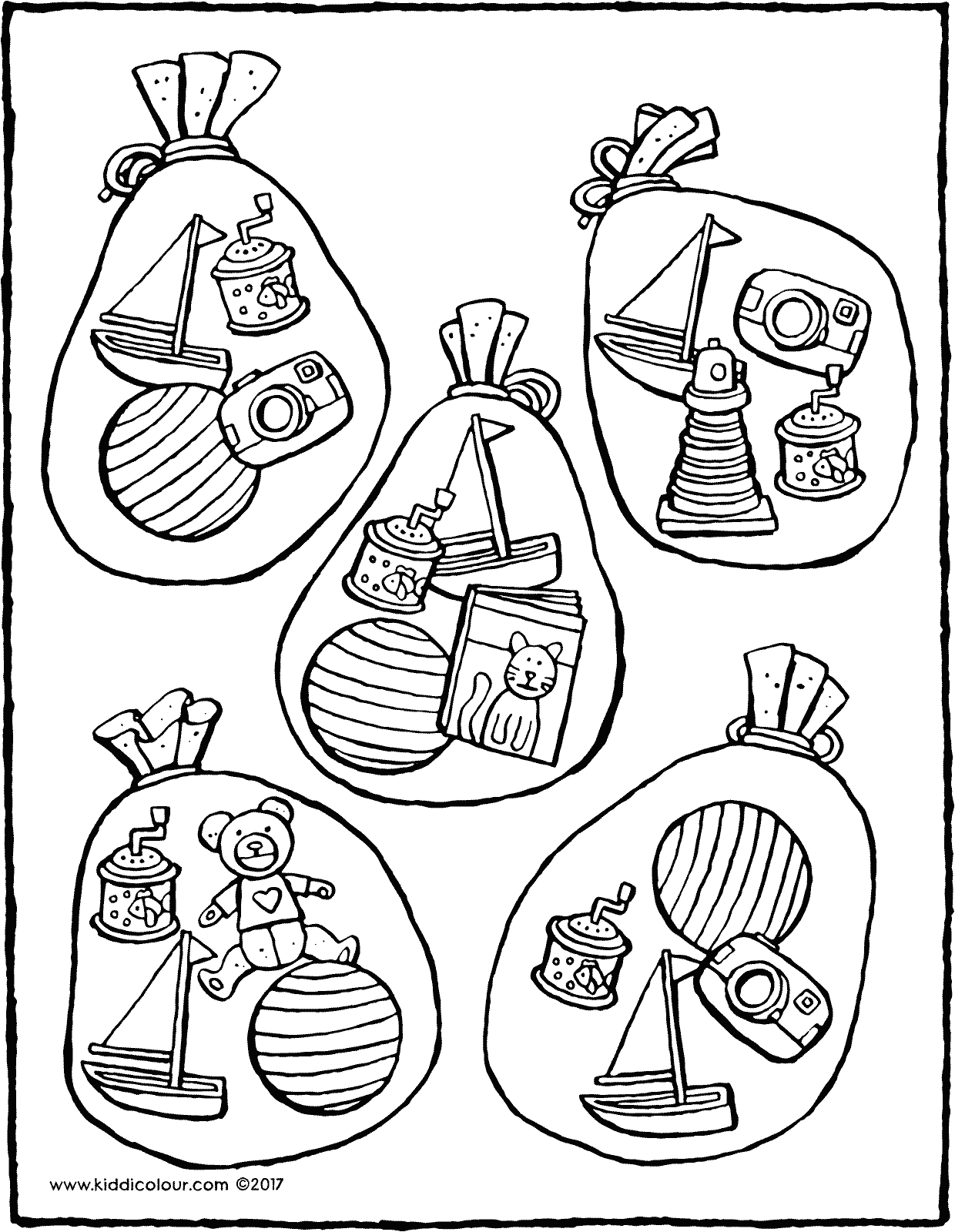 which sacks are filled with the same toys colouring page drawing picture 01V