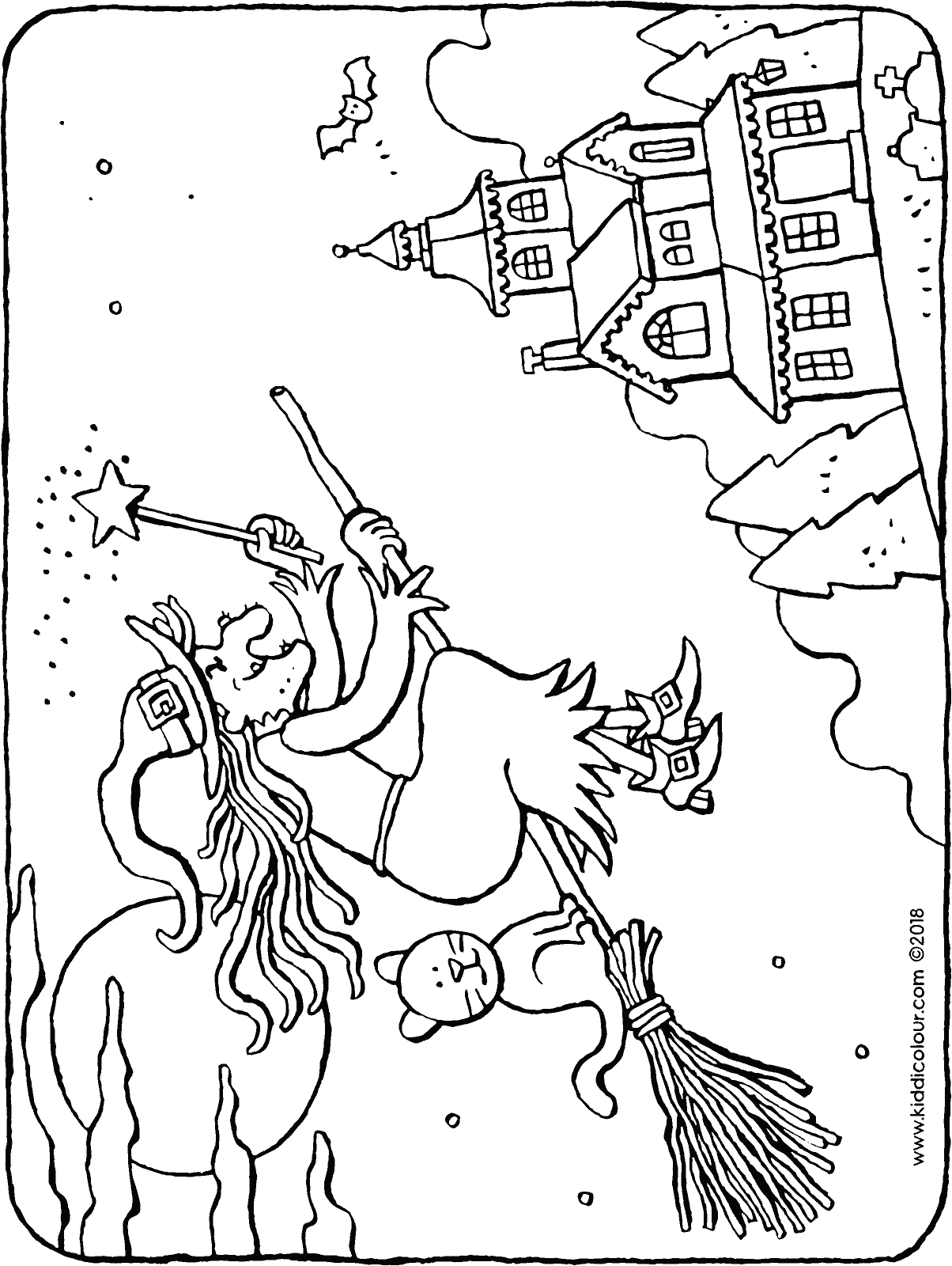 witch on broomstick colouring page drawing picture 01H