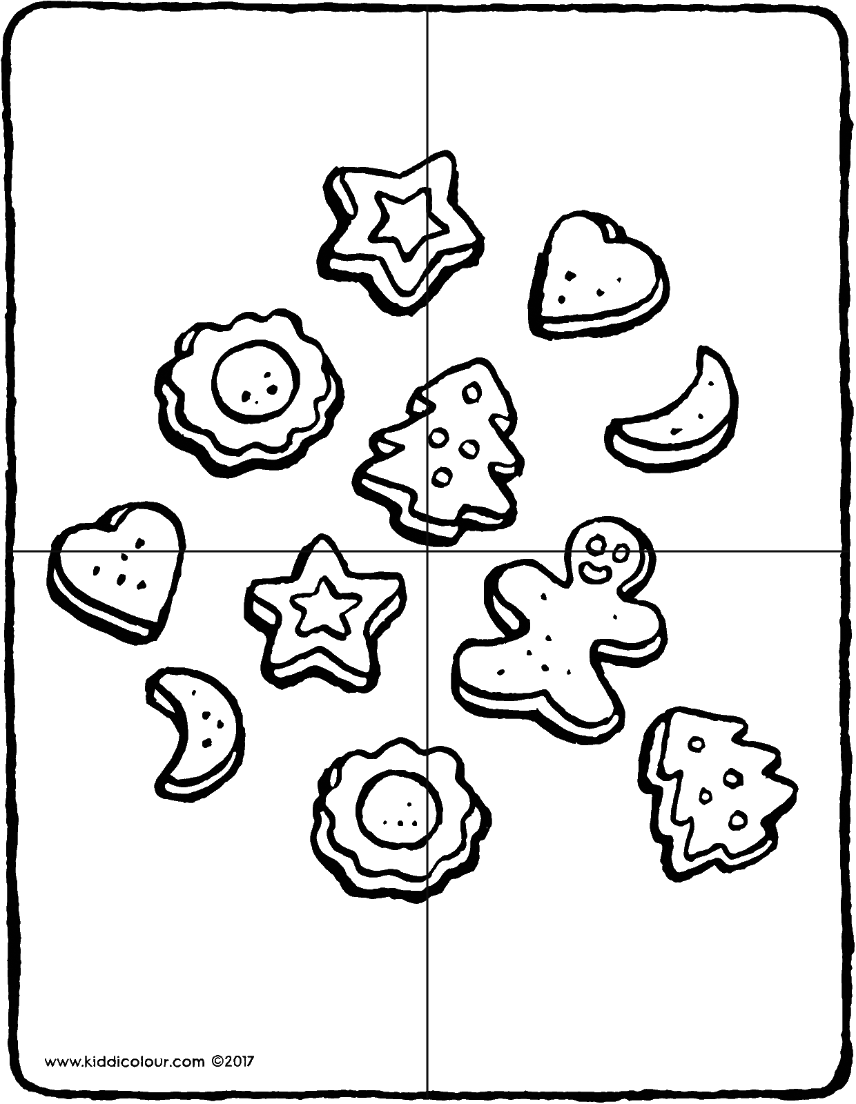 Christmas biscuits puzzle colouring page drawing picture 01V