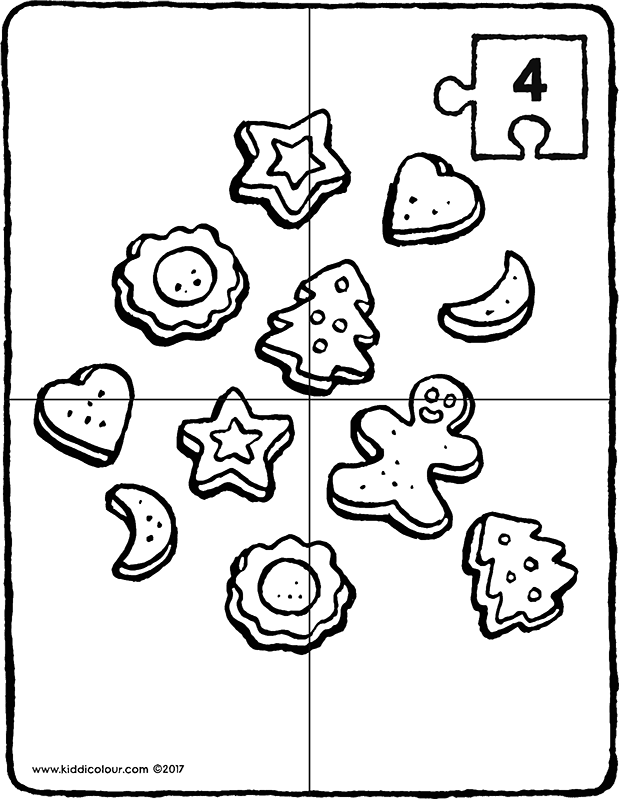 Christmas biscuits puzzle colouring page drawing picture 01k