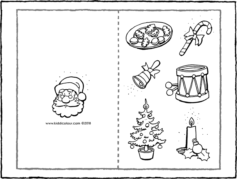 Christmas card colouring page drawing picture 01k