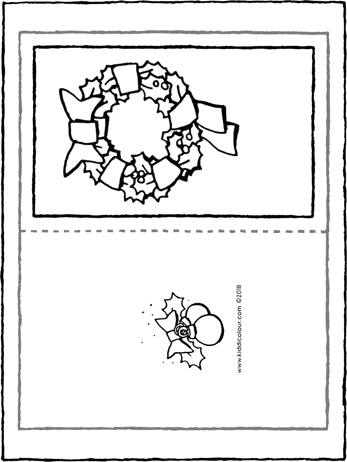 Christmas card with wreath colouring page drawing picture 01H