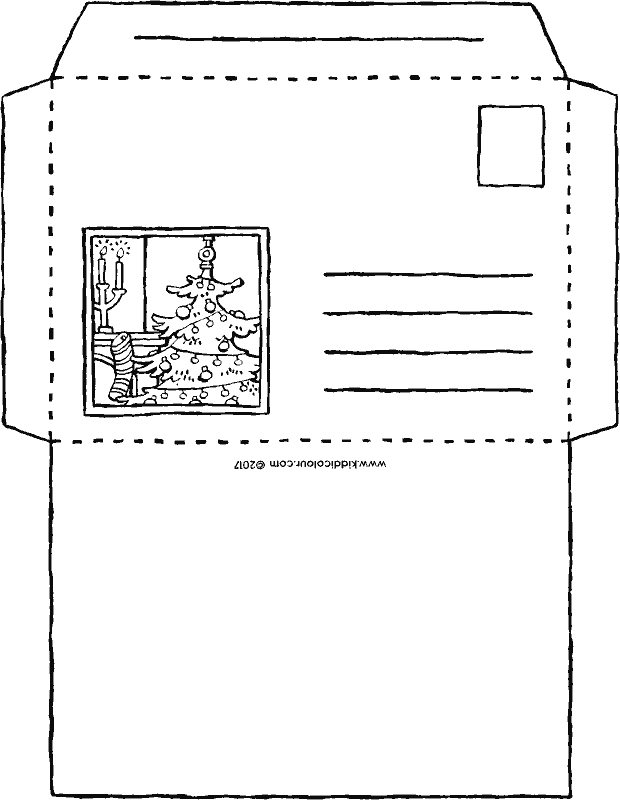 Christmas envelope colouring page drawing picture 01k