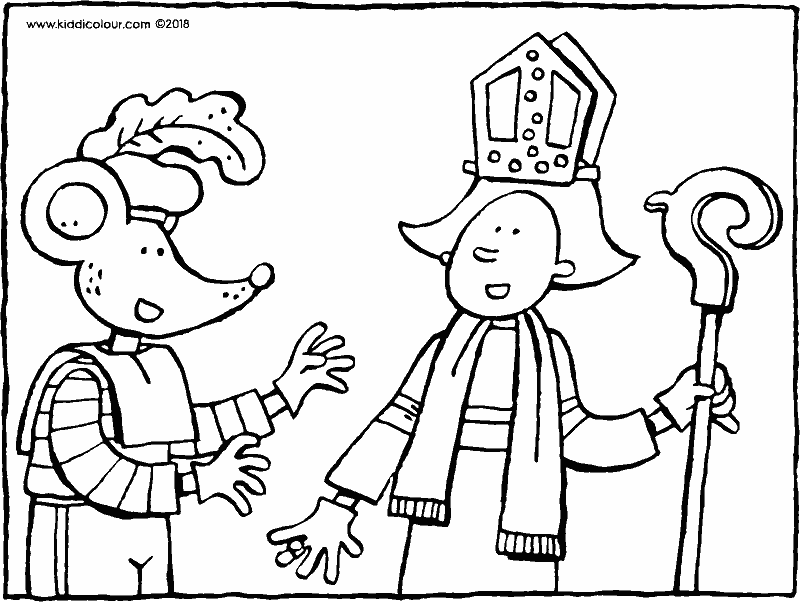 Emma and Thomas play at being Saint Nicholas and Black Pete colouring page drawing picture 01k