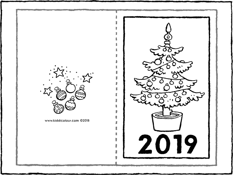 New Year's card 2019 colouring page drawing picture 01k